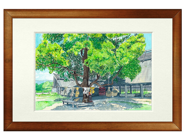 世界で1枚の絵 水彩画原画「吉野ヶ里古墳」の画像1枚目