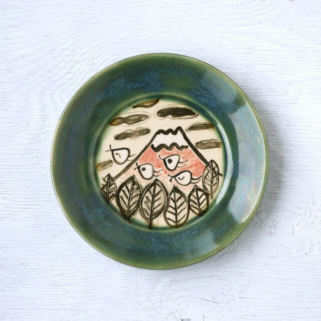 織部平皿(赤富士と千鳥)の画像1枚目