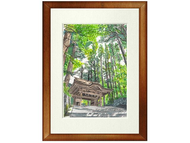世界で1枚の絵 水彩画原画「大神山神社奥宮」の画像1枚目