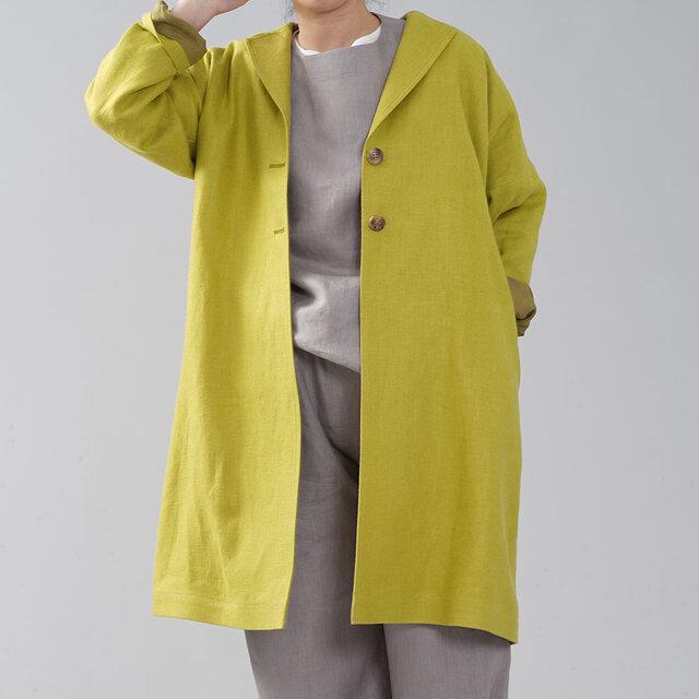 【wafu】厚地 暖リネン チェスターコート 表起毛 ロングコート 春コート スプリングコート/h023c-sgn3の画像1枚目