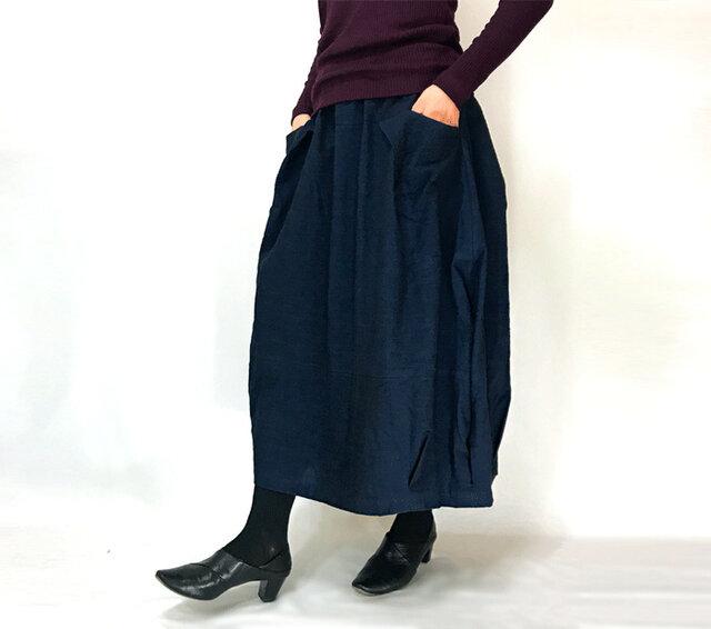 再3☆手織り綿インディゴ染め、バルーンスカート、オールシーズンの画像1枚目