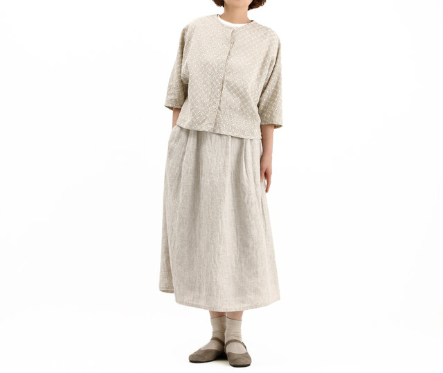 タックギャザースカート(サンドベイジュ)#303の画像1枚目