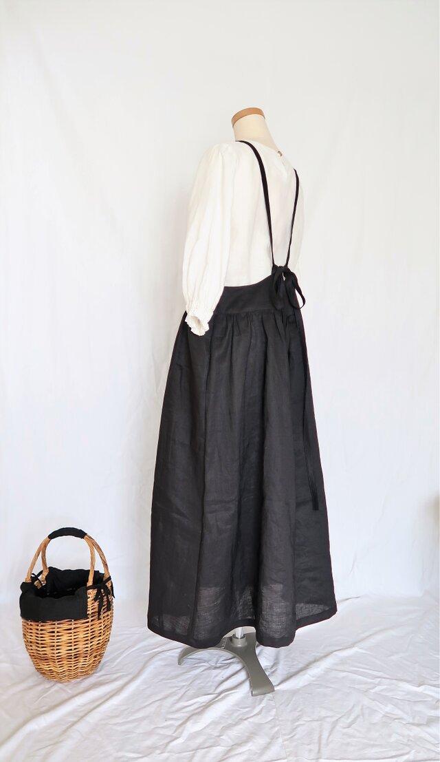 ブラックリネン♡大人のサスペンダースカート♡ニュアンスたっぷり・ナチュラル系マストアイテム♪の画像1枚目