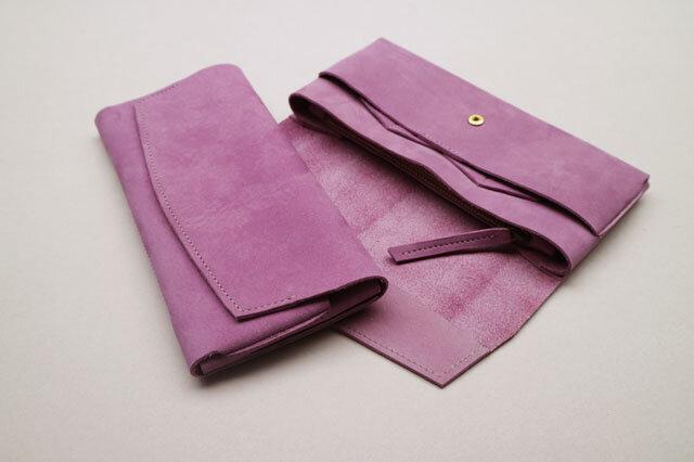 【ご予約済みSAMPLE品】やわらかい革の長財布 PURPLEの画像1枚目