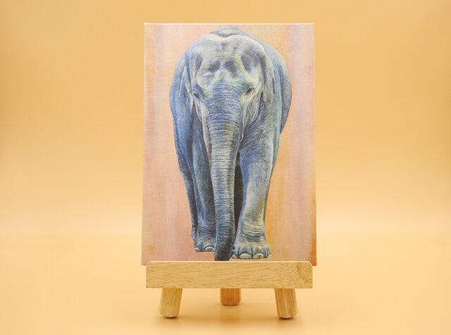 絵画パネル 「青き象~blue elephant~」和紙の画像1枚目