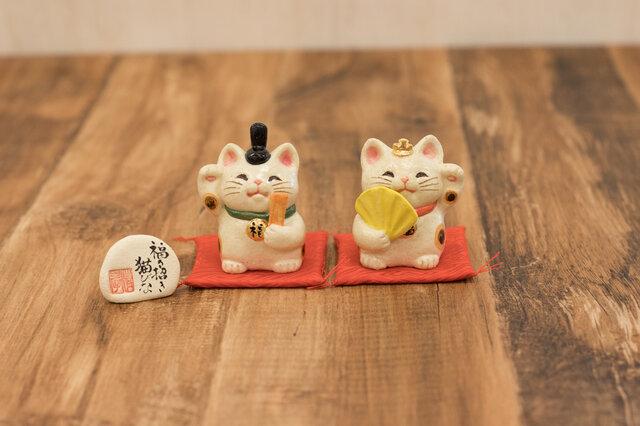 福々招き猫びな 小 招き猫のお雛様の画像1枚目