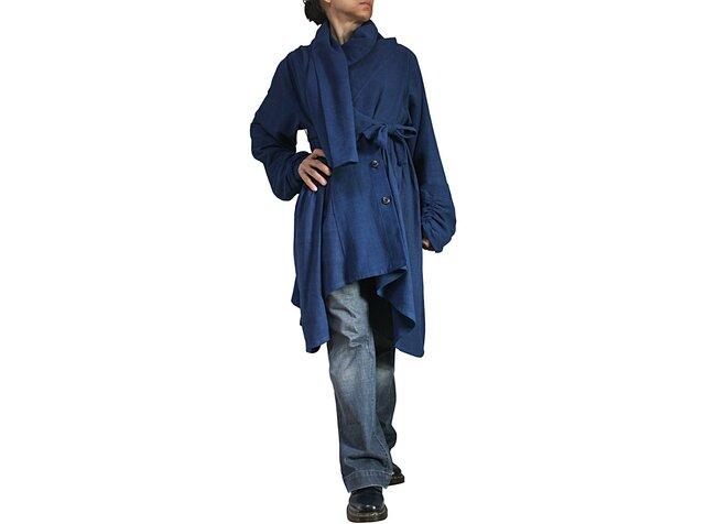 天然インディゴ染めジョムトン手織り綿のフローイングコート紐付き(JNN-096-03)の画像1枚目