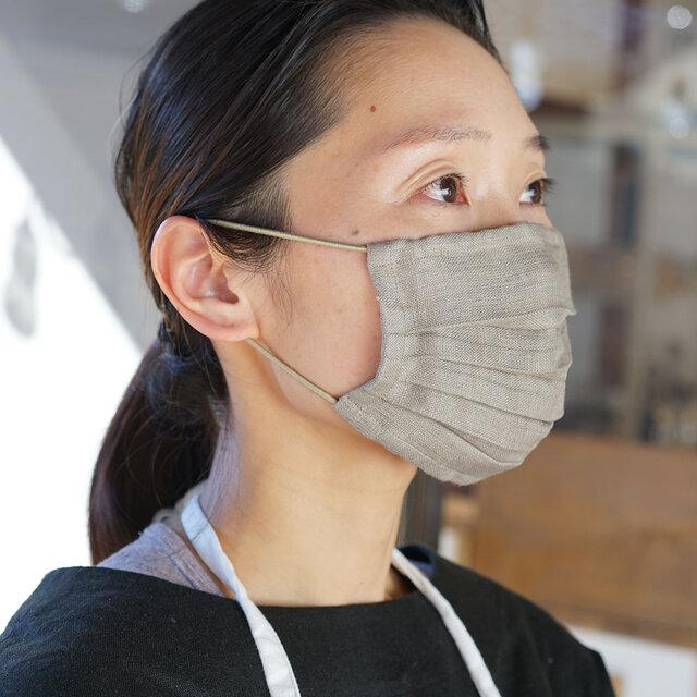 【wafu】【カシミヤベージュ】リネン マスク Wガーゼリネン100% 抗菌 防臭/z021a-csb2【ゆうパケット可】の画像1枚目