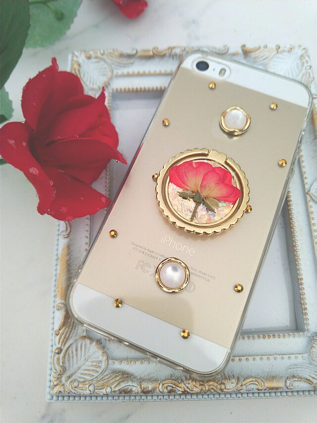 iPhoneケース Android スマホケース リング付き ミニ薔薇の画像1枚目