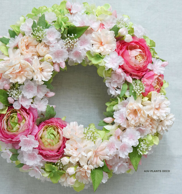 Spring Wreath ~桜~29cm(造花)の画像1枚目