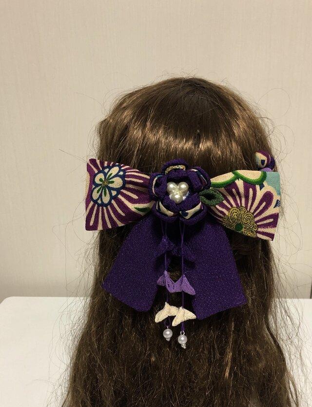 紫の古典柄リボンの髪飾りセット(卒業式・袴・ちりめん細工)の画像1枚目