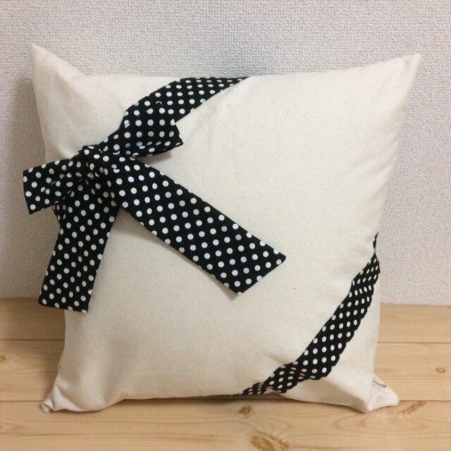 ギフトラッピング クッションカバー 11号生成帆布✖白黒ドットリボンの画像1枚目
