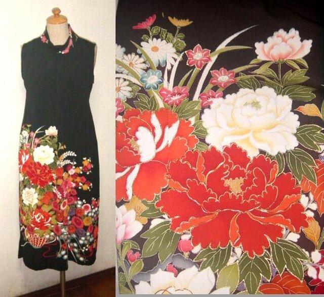 留袖リメイク♪牡丹の刺繍が豪華な留袖ハイネックワンピース・ボレロ付き♪ハンドメイドの画像1枚目