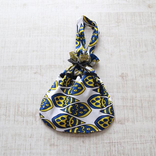 アフリカ布『カンガ』の巾着バッグの画像1枚目