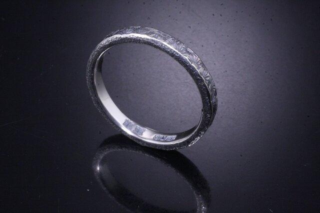 【刻印無料】 指輪 メンズ レディース :小花 鎚目 シルバー リング 3mm幅 4~27号 槌目 シンプル ペアリングの画像1枚目