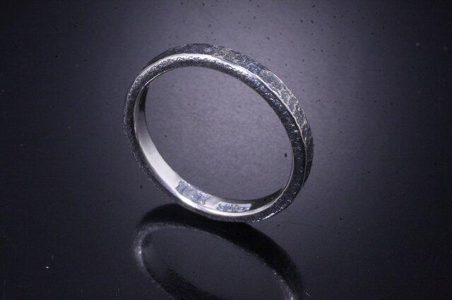 【刻印無料】 指輪 メンズ レディース :岩石丸 鎚目 シルバー リング 3mm幅 4~27号 槌目 シンプル ペアリングの画像1枚目