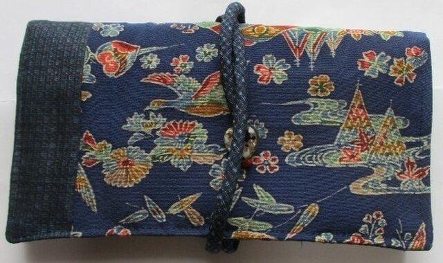 4704 藍大島紬と小紋の着物で作った和風財布・ポーチ #送料無料の画像1枚目
