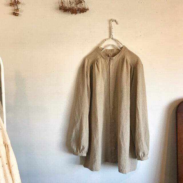 コットンリネンのスタンドカラーシャツ(093)の画像1枚目