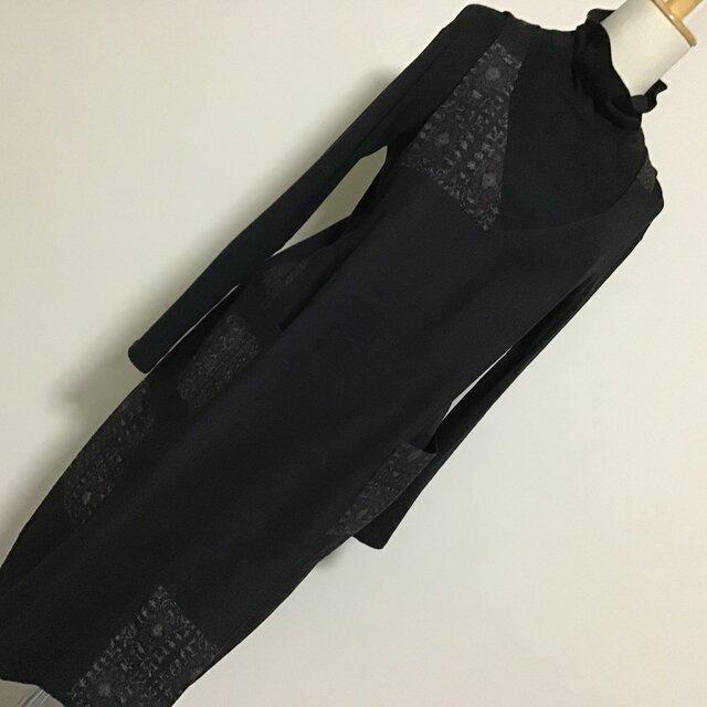 0219    着物リメイク L~2L寸法 Vネックジャンバースカート    小千谷紬の画像1枚目