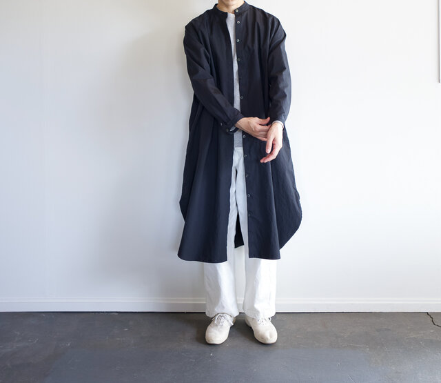 weather cloth cotton linen/raglan shirt one piece/navyの画像1枚目
