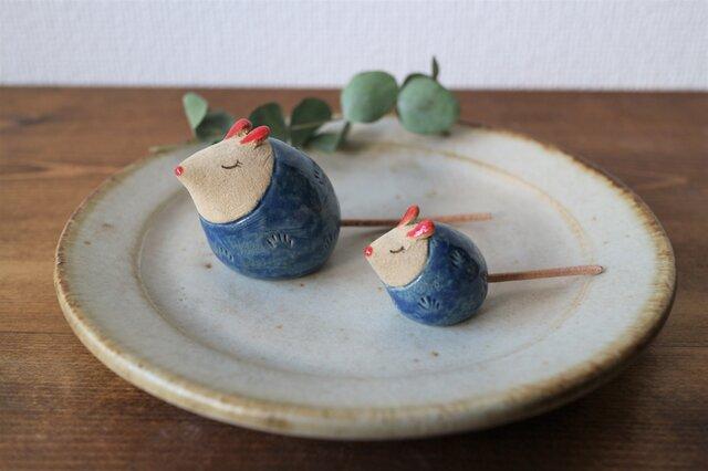 ネズミの置物 ( 大・青色 )の画像1枚目