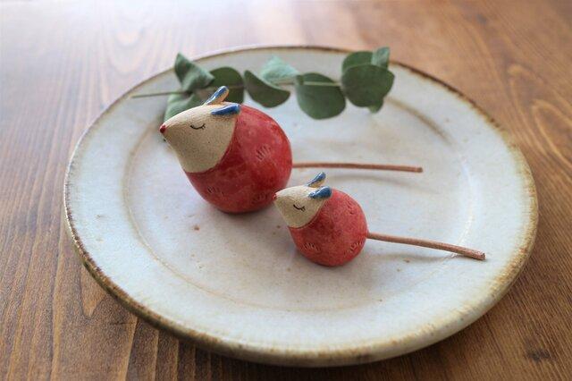 ネズミの置物 ( 大・赤色 )の画像1枚目