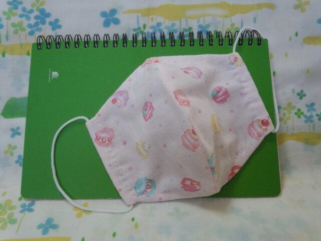 【手縫い】Wガーゼ立体マスク16×13㎝☆マカロン柄☆ピンク☆裏地手ぬぐい地☆プチギフトの画像1枚目