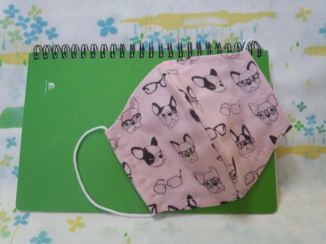 【手縫い】Wガーゼ立体マスク16×13㎝☆犬とメガネ柄☆ピンク色☆裏地手ぬぐい地☆プチギフトの画像1枚目