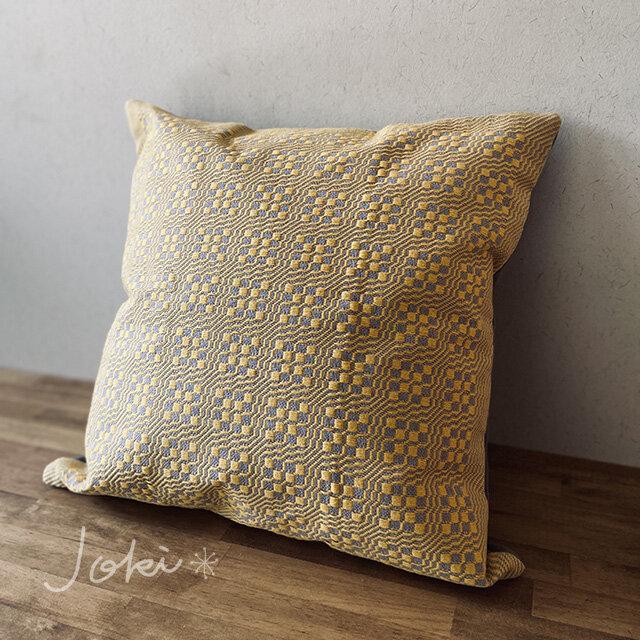 cushion cover[手織りクッションカバー] イエローの画像1枚目