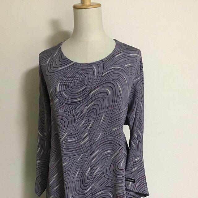 0224    着物リメイク M~L寸法の七分袖コクーンワンピース  錦紗の画像1枚目