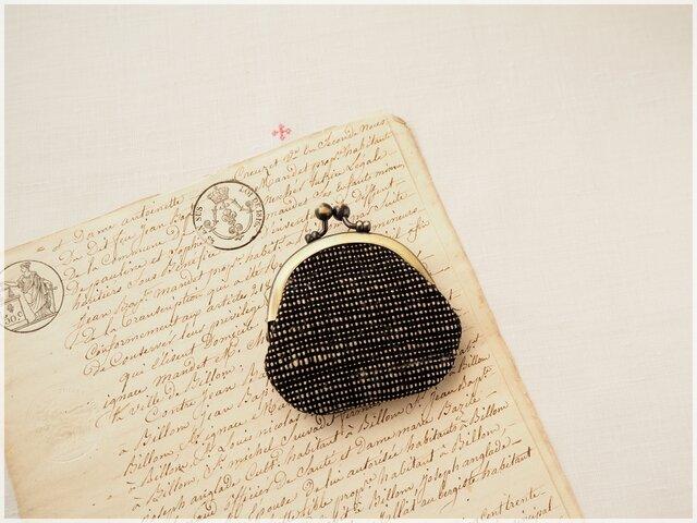 ■丸型がま口コインケース / 手紡ぎ、手織りシルク・コットン bka■ cloche(gmi-bka)の画像1枚目