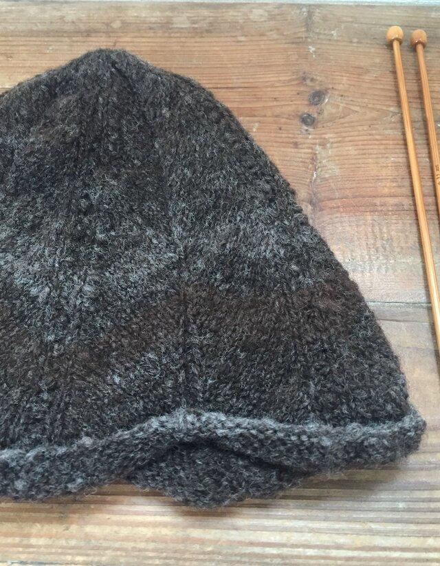 手紡ぎ糸のニット帽子・パーラーの画像1枚目