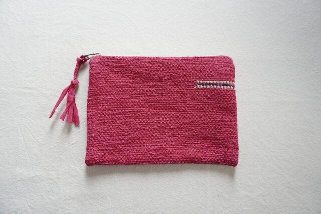 【K様専用受注制作】裂き織りのフラットポーチ   ピンクの画像1枚目