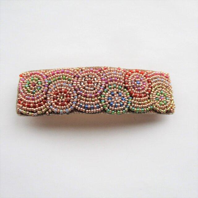 特小ビーズのモザイク模様刺繍バレッタ(丸形)の画像1枚目