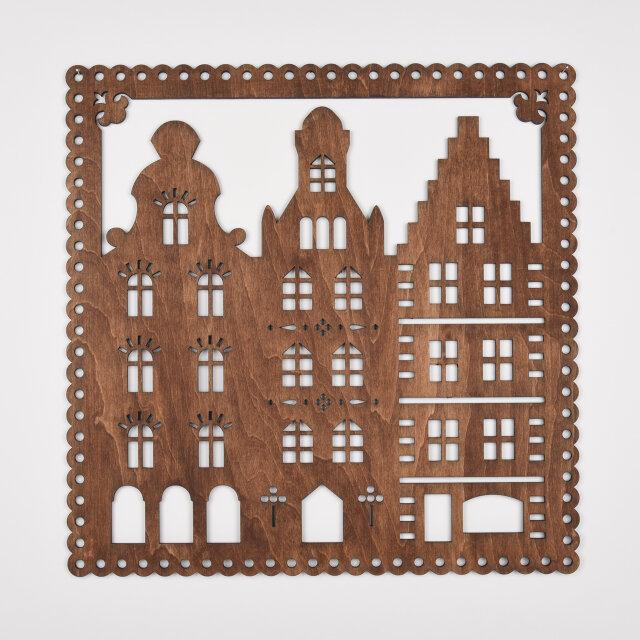 ビッグウッドフレーム「ビッグタウン」(木の壁飾り)の画像1枚目