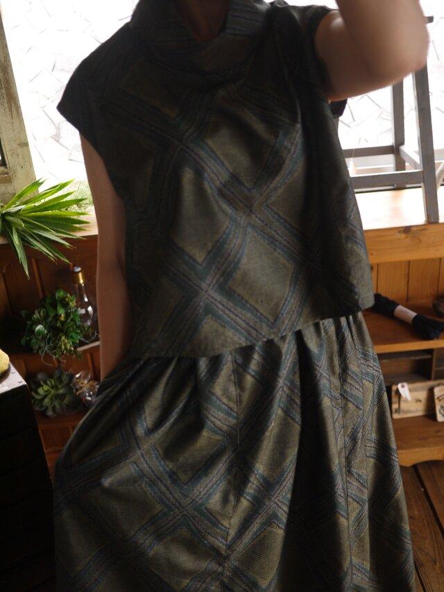 正絹新反トップスとギャザースカートセットアップの画像1枚目