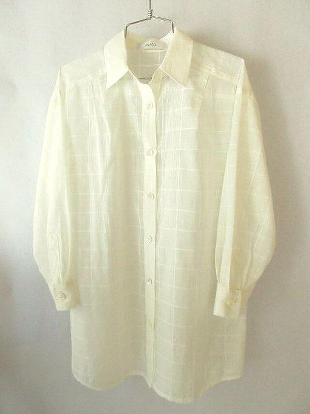 薄地のコットンのシャツ 白い格子(2)の画像1枚目