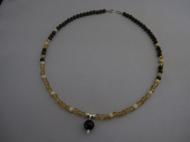 黒水晶(モリオン)8ミリ玉トップ ネックレスの画像1枚目