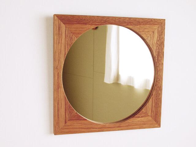 木製 鏡「四角に丸」ラワン材1 ミラーの画像1枚目