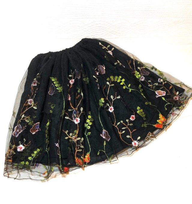 刺しゅうチュール ギャザースカート 受注製作 黒の画像1枚目