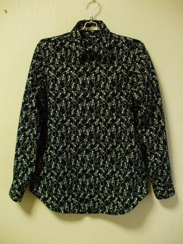 メンズ スケルトン柄プリント 台衿付き長袖シャツ Lサイズ 綿100% 黒 受注生産の画像1枚目