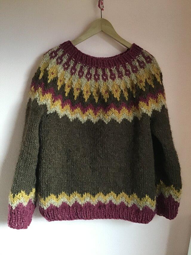 アイスランドロピセーター 手編み MからLサイズの画像1枚目