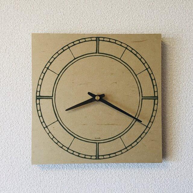 木版小豆時計 ベージュの画像1枚目