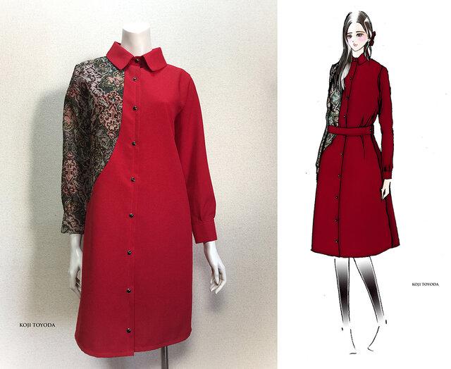 【1点もの・デザイン画付き】ベルト付きゴブラン織りアシメトリー切り替えワンピース赤(KOJI TOYODA)の画像1枚目