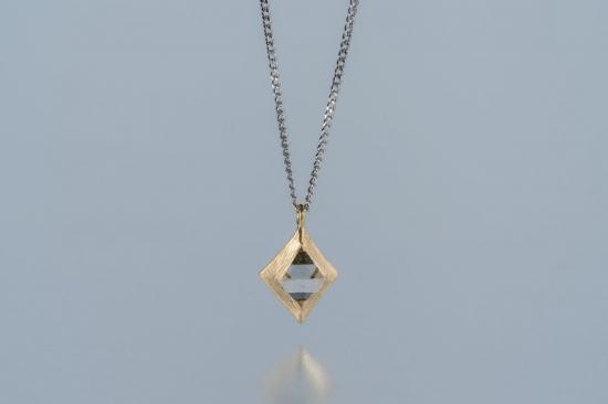 【ストック】Gazzara ダイヤモンド原石ペンダント / K18YG Pt850の画像1枚目