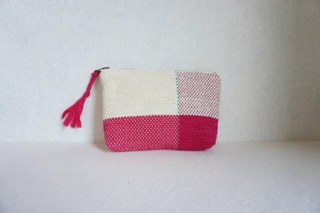 裂き織りのポーチ バニラ×濃いピンクの画像1枚目