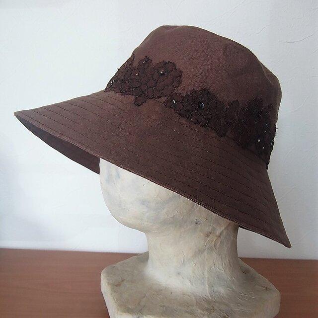 こげ茶・麻の帽子の画像1枚目