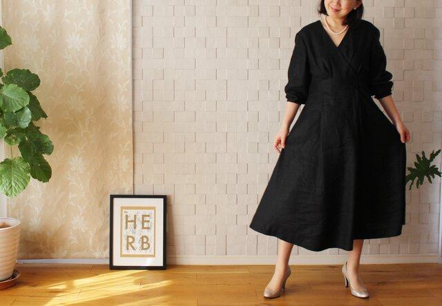 【新作】リネン セレモニードレス ブラック 黒の画像1枚目