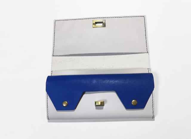 牛革の長財布(ライトグレー×ブルー)の画像1枚目