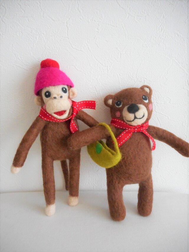 Sachi様オーダー品 くまさん&さるくん人形の画像1枚目